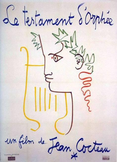 Affiche du film « Le Testament d'Orphée » de Jean Cocteau (1960). Là encore, on retrouve le coup de crayon bien caractéristique du poète, avec une ligne stylisée et expressive.