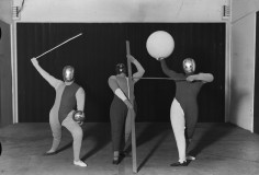 A Bauhaus play, scene one a dance formation, produced by Oskar Schlemmer, photography by Erich Consemüller, 1927 (Photo Erich Consemüller © Stiftung Bauhaus Dessau)