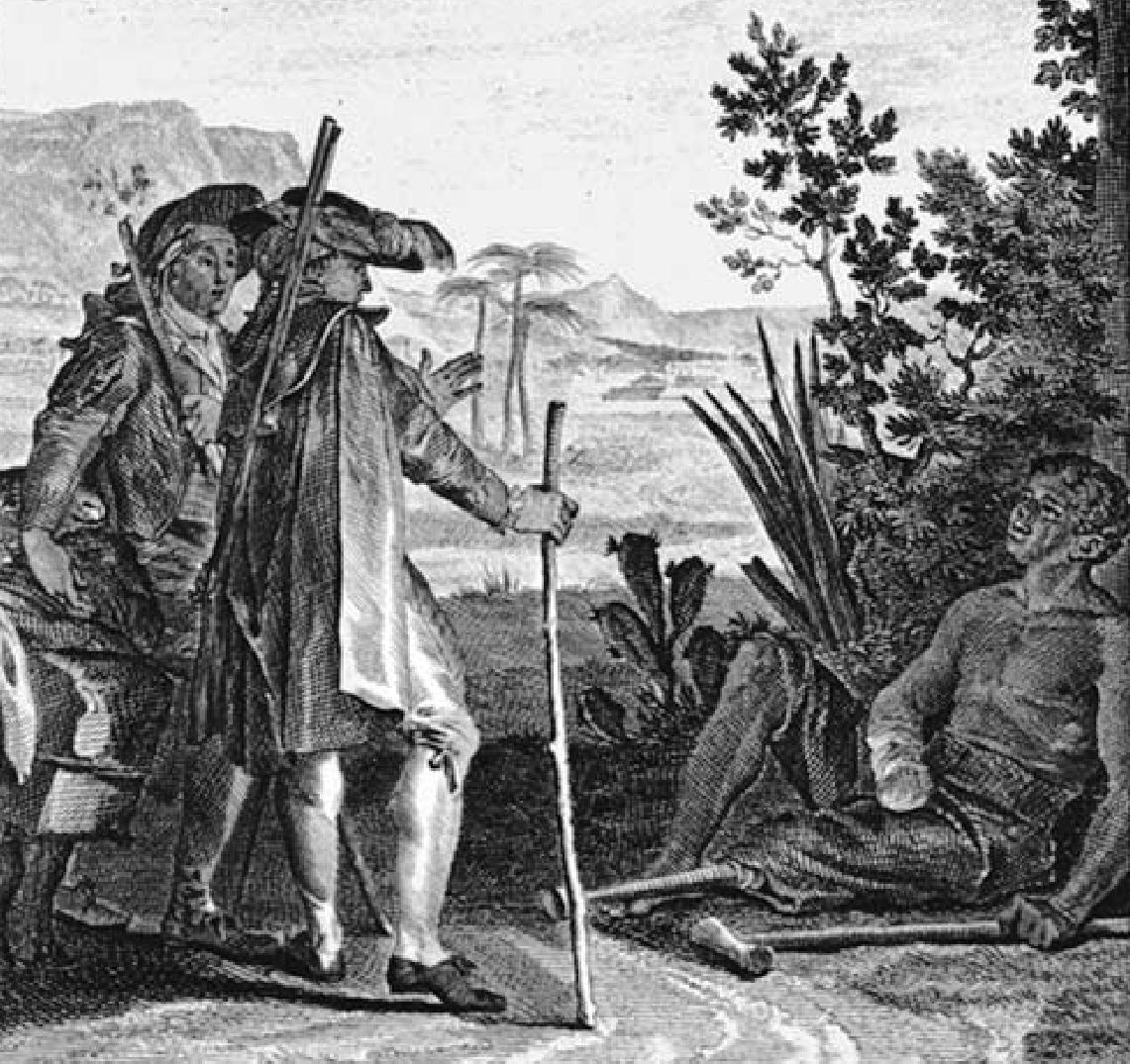 Moreau, gravue illustrant les aventures de Candide, Voltaire