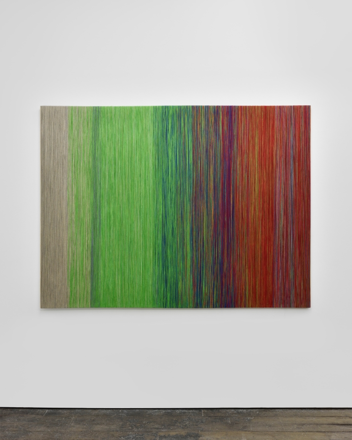 Sheila  Hicks Annecy - vu d'en haut, 2016 Lin et bois 150 x 200 cm Courtesy of the artist and galerie frank elbaz