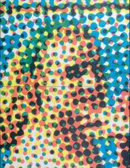 Tête De Jeannine, 1965 Acrylique et sérigraphie sur toile, diptyque. 195 x 130 cm Expositions- «Alain Jacquet - camouflages et trames», MAMAC, Nice, 2005 source digard.com