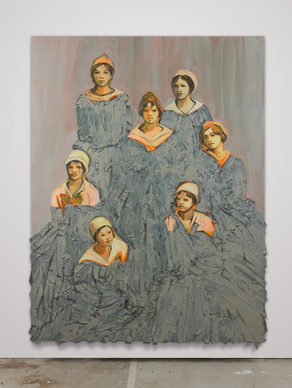 Claire TABOURET The Team 2016 acrylique et tissus sur toile 300 x 230 cm pièce unique courtesy Galerie Bugada & Cargnel, Paris photo : bluntbangs.bizs