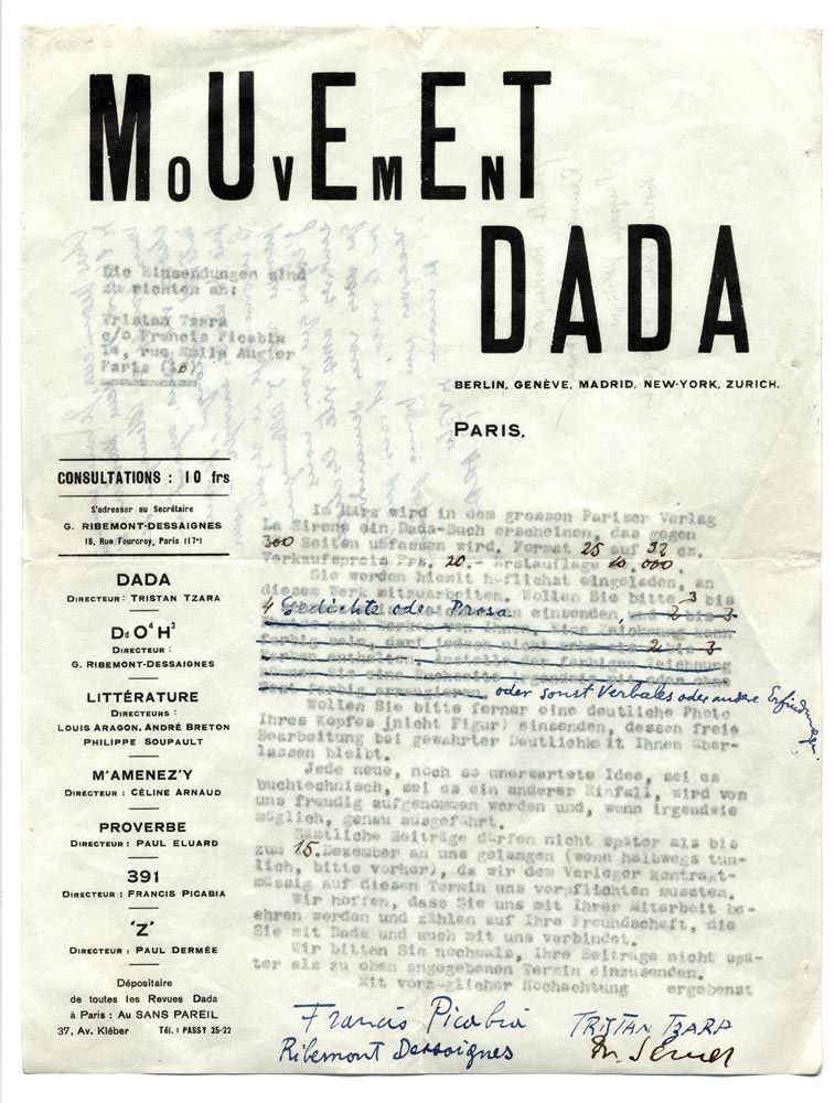 Dadaglobe solicitation form letter signed by Francis Picabia, Tristan Tzara, Georges Ribemont-Dessaignes, and Walter Serner, c. week of November 8, 1920. This example was sent from Paris to Alfred Vagts in Munich. Source : Archivo Lafuente.