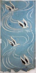 Maurice Denis Les Colombes vers 1893 projet de papier peint aquarelle, crayon et gouache sur papier 106 x 50,3 cm collection particulière © catalogue raisonné Maurice Denis photo Olivier Goulet