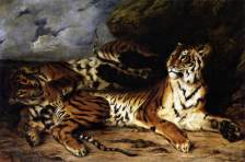 """Eugène Delacroix : """"A Young Tiger Playing with its Mother"""", 1830, commons.wikimedia.org (cons.4/03/19)"""