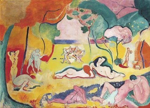 Henri Matisse, Le bonheur de vivre, 1905-6, oil on canvas, 176.5 cm × 240.7 cm, Barnes Foundation, Philadelphia, PA, fauvism page wikimedia.commons.org, cons. 4/03/19