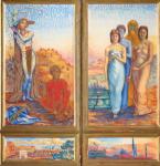 Triptyque à la fresque : le martyre de saint Sébastien de René Piot,peinture à l'oeuf sur contreplaqué, triptyque à volets mobiles H. 62 ; L. 77 cm (panneau central) autre dimension H. 60 ; L. 34 cm (volets) autre dimension H. 12 ; L. 75 cm (prédelle) cm.