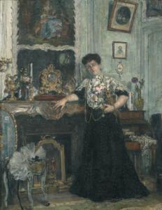 DESVALLIERES Georges (1861 - 1950) 37 Portrait de Madame Piot dans son salon de Mar- cilly, 1906 Huile sur toile signée en bas à droite et datée. Ecaillures et manques. 84 x 65 cm https://bit.ly/2T8MEBd
