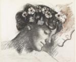 René Piot Buste de Marie Piot, tête inclinée vers la gauche de profil, les cheveux parsemés de fleurs Photo (C) RMN-Grand Palais (musée d'Orsay) / Thierry Ollivier Paris, musée d'Orsay, conservé au musée du Louvre, https://bit.ly/2Cka6G4