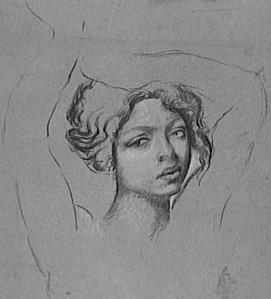 Jeune femme en buste, de face, les bras sur la tête https://bit.ly/2XWyy9L