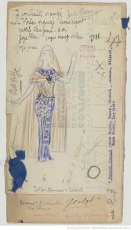 [Esther princesse d'Israël : seize maquettes de costumes / par René Piot] Auteur : Piot, René (1866-1934). Dessinateur. 1925, Bibliothèque nationale de France, MUELLE-7 (ESTHER PRINCESSE D''ISRAEL). Source : https://bit.ly/2HnhHHQ