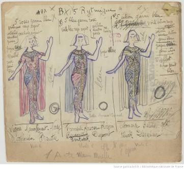 [Esther princesse d'Israël : seize maquettes de costumes / par René Piot] Auteur : Piot, René (1866-1934). Dessinateur. 1925, Bibliothèque nationale de France, MUELLE-7 (ESTHER PRINCESSE D''ISRAEL). Source : https://bit.ly/2HnhHHQ
