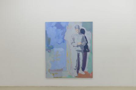 Simon Martin – Porte-fenêtre, smartphone et fleurs sauvages, 2019, Huile sur toile, 195x160cm, Courtesy de l'artiste et de la galerie Jousse Entreprise, Paris