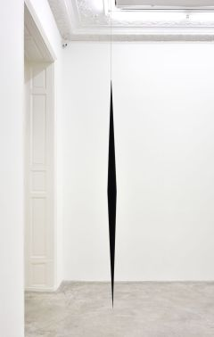 Artur Lescher Fuso#2, 2013 Black anodized aluminium and steel cable 300 x 12 cm 118 1/8 x 4 3/4 in AP 1/2 + 5 Ed © Artur Lescher - Photo: Rebecca Fanuele Courtesy of the Artist and Almine Rech